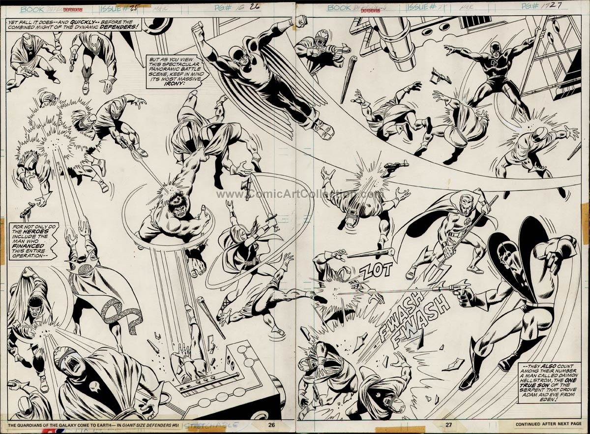 Defenders #25 pages 26-27 DPS by Sal Buscema / Jack Abel